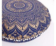 Popular Handicrafts Mandala Round Hippie Bodenkissen 32 Cushion Cover Blaugold