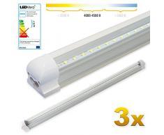 LEDVero 3x SMD LED Röhre 90 cm inklusive Fassung in neutralweiss- Leuchtstoffröhre T8 G13 Tube transparent Abdeckung - Lichtleiste mit 14 W, 1400lm- montagefertig