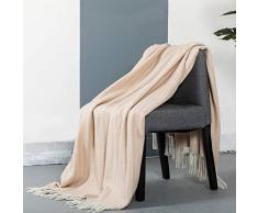 Spencer & Whitney Decke, Wolldecke, australische Wolle, Überwurf, Decke, weiche leichte Decke, Kaschmirdecke, Wollschal, Wolle, Überwurf Twin Blassrosa gestreift (127 x 177 cm)