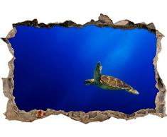 Pixxprint 3D_WD_S2682_92x62 schöne Schildkröte im Wasser Wanddurchbruch 3D Wandtattoo, Vinyl, bunt, 92 x 62 x 0,02 cm
