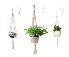 AOMGD Makramee-Pflanzenaufhänger für drinnen und draußen, zum Aufhängen, Blumenständer, Blumentöpfe für Dekorationen, Baumwollseil, 4 Beine, 3 Größen, 3 Stück