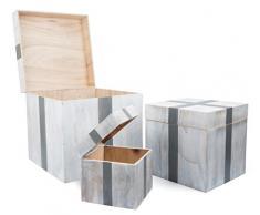 Small Foot 10197 Holztruhe Geschenk, 3er Set Truhe, Aufbewahrungsbox, Holz, weiß, 40.00 x 40.00 x 40.00 cm