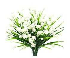 Künstliche Fake Blumen, 4 Bündel Outdoor UV-Beständig Greenery Sträucher Pflanzen Blumentopf für Drinnen Außen Aufhängen Home Garten Decor Weiß