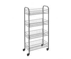 Metaltex Pisa Küchenwagen, Epoxidbeschichteter Stahl, stahlgrau, 41x23x84 cm