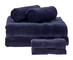 iDesign 6er-Set Badtextilien für das Badezimmer und Gäste-WC, weiches Handtücherset aus 100% Baumwolle, Handtuch Set mit je 2 Handtüchern, Badetüchern & Waschlappen, Marineblau