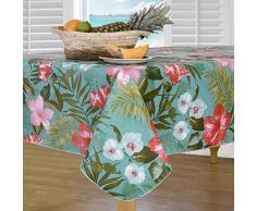 Everyday Luxus von Newbridge Insel Bloom Flanell Rückseite Indoor Outdoor Vinyl Tisch Linens Tropisch 60x84 Oval Mehrfarbig