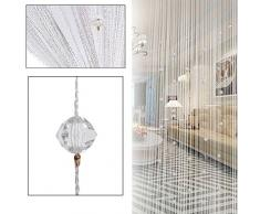 100 x 200 cm String Vorhang Perlen Wand Fransen Fenster Raumteiler Rollo für Hochzeit Kaffee Haus Restaurant Teile Kristall Quaste Bildschirm Home Dekoration 2m x 1m(78 H x 39 W) Weiß