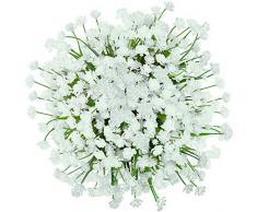 GREENRAIN 6 Bündel künstliche Blumen Lotusblüten für den Außenbereich, UV-beständig, kein Verblassen aus Kunst-Kunststoff, für Garten, Veranda, Fenster, Box Dekoration 13 * 6.5 weiß