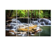 Design Art Level Sechs der Huai Mae Kamin waterfall-metal Wand art-mt7095–48 x 28–4 Panels, 48 x 28
