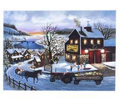 Oak Street Leinwandbild, Weihnachtsdorf Bazaar, 20 x 15 cm, beleuchtet, 6 Stunden Timer