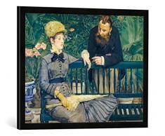 Gerahmtes Bild von Edouard Manet Das Ehepaar Guillemet im Gewächshaus, Kunstdruck im hochwertigen handgefertigten Bilder-Rahmen, 70x50 cm, Schwarz matt