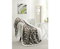 Kensie – Home Decorator Ultra Plüsch & Weiches Fleece Sherpa Überwurf Decke kuschelig warm Decke für Ihr Bett, Couch und Sofa – 127 x 152 cm – Blau 50 X 60 Taupe