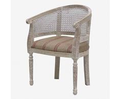 Better & Best Bürostuhl Gitter, Weiß, Sitz aus Jute, Erdbeere, Maße 54 x 24 x 73 cm, Material: Holz, Stoff, Einheitsgröße
