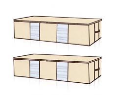 Seckon Aufbewahrungstasche für Unterbettkommode, großes Fassungsvermögen, mit verstärkten Reißverschlüssen und Griffen, große Kapazität, Unterbett-Aufbewahrungstasche, Beige