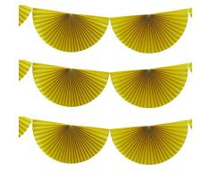 Ginger Ray Summer Fruits hängende Dekoration Fan Wimpelkette aus Papier, gelb gelbe, hängende Ventilatoren gelb