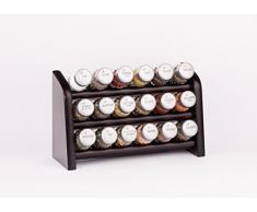 Gald Gewürzregal, Küchenregal für Gewürze und Kräuter, 18 Gläser, Holz, Venge (schwarz)/matt, 30.5 x 20.5 x 10.5 cm