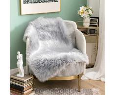MIULEE Super weicher Flauschiger Teppich Kunstfell-Teppich Dekorativer Plüsch Zottelteppich für Nachttisch, Sofa, Boden, Kinderzimmer 2 x 3 ft Rectangle grau
