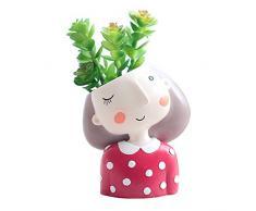 Segreto Creative Sweet Girl Pflanzen Töpfe Bürste Töpfen Übertopf für Blumen Sedum Sukkulenten Schreibtisch Garten Raum Topf Decor One Size Sweet Girl-Red