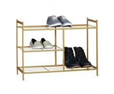 Relaxdays Schuhregal SANDRA mit 3 Ebenen, Schuhablage aus Metall, mit Stiefelfach, HBT: ca. 50,5 x 70 x 26 cm, für 8 Paar Schuhe, mit Griffen, hellbraun