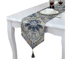 Moderne Einzigartige Satin Gold Trim Design Tisch Läufer, Satin, blau, 12 * 98 approx