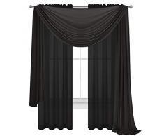 WPM World Products Vorhang/Schal/Behandlung, schönes, durchscheinendes Voile-Vorhänge für Schlafzimmer und Küche, komplett genäht und gesäumt 3 Piece Panels+Scarf schwarz