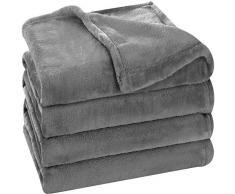 Utopia Bedding Flanell Fleece Decke Grau (Werfen) Leichte Gemütliche Couch/Bett Decke Plüsch Microfaser Grey