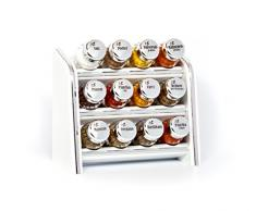 Gald Gewürzregal, Küchenregal für Gewürze und Kräuter, 12 Gläser, Holz, Weiß/glänzend, 22 x 21 x 10 cm