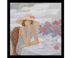 Buyartforless Poster/Kunstdruck Nachmittags-George Xiong, 19,5 x 22 cm, abstrakte Figurative Frau sitzt am Tisch mit Tee- und Blumentopf, Weiß