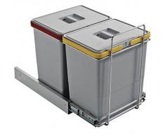 ELLETIPI Ecofil PF01 34B2 Mülleimer zur Mülltrennung, ausziehbar, mit Base, Kunststoff und Metall, grau, 30 x 45 x 36 cm