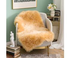 MIULEE Super weicher Flauschiger Teppich Kunstfell-Teppich Dekorativer Plüsch Zottelteppich für Nachttisch, Sofa, Boden, Kinderzimmer 2 x 3 ft Rectangle braun