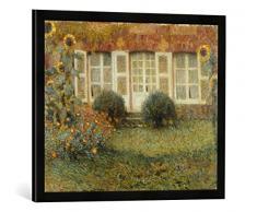 Gerahmtes Bild von Henri Le Sidaner Gartenhaus und Sonnenblumen, Kunstdruck im hochwertigen handgefertigten Bilder-Rahmen, 70x50 cm, Schwarz matt