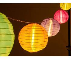 AMARE LED Lichterkette mit 15 XXL Lampions mit 15 cm Durchmesser, Solarbetrieb mit Dämmerungssensor und Erdspieß für den Außenbereich, bunt, Kette 7 m, Länge Zuleitung ca. 3 m