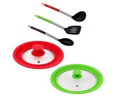 San Ignacio PK1904 Universaldeckel aus Glas in Rot und Grün + 3 Küchenutensilien aus Nylon