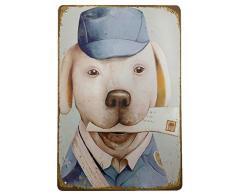 Aikibao Metallschild, Vintage-Design Hund oder Katze, Wanddekoration für Zuhause, Garage, Bar, Pub, Küche, Outdoor, Retor, Kunstschild, 30,5 x 20,3 cm 120
