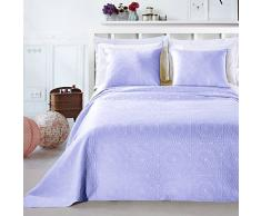 DecoKing Premium 12826 Tagesdecke 240 x 260 cm lila mit 2 Kissenbezügen 50x60 cm Bettüberwurf Pflanzen pflegeleicht Elodie