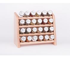 Gald Gewürzregal, Küchenregal für Gewürze und Kräuter, 24 Gläser, Holz, Naturell/matt, 31 x 27 x 15.5 cm