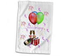 3D Rose Bild von Luftballons und Champagnerflasche mit Happy Anniversary TWL_181035_1 Handtuch, 38,1 x 55,9 cm, Mehrfarbig