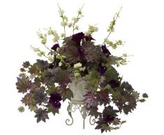 Nearly Natural Fast Natur 6729 Morning Glory und Kirschblüten mit Metall Übertopf, Grün/Violett