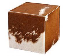 Syltiges 30125 Edler Sitzhocker aus Kuhfell und Wollfilz, 40 x 40 x 40 cm, Braun
