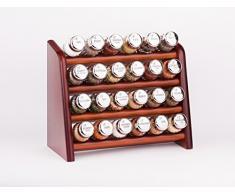 Gald Gewürzregal, Küchenregal für Gewürze und Kräuter, 24 Gläser, Holz, Braun/glänzend, 31 x 27 x 15.5 cm