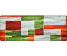DECO-MAT Rutschfester Teppich-Läufer ohne Rand für den Innenbereich oder Eingangsbereich, 80 x 200 cm, Moderne / Grün-Grau-Orange