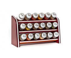 Gald Gewürzregal, Küchenregal für Gewürze und Kräuter, 18 Gläser, Holz, Braun/matt, 30.5 x 20.5 x 10.5 cm