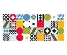 Laroom 14162–Teppich Bollato Küche Mosaik Fliesen Breite 150cm, Farbe Mehrfarbig