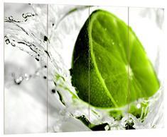 Pixxprint HBVs_2123_80x60 frische Limette in Wasser MDF-Holzbild im Bretterlook Wanddekoration, bunt, 80 x 60 x 2 cm