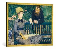 Gerahmtes Bild von Edouard Manet Das Ehepaar Guillemet im Gewächshaus, Kunstdruck im hochwertigen handgefertigten Bilder-Rahmen, 100x70 cm, Gold Raya