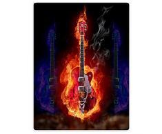 Decken Fleece Decke/Überwurf für Sofa Bett Hellfire Fire Musik Gitarre Soul, Flanell, schwarz, 152 x 203 cm