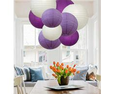 A Liittle Tree 9 Stück gemischte neue runde Papierlaternen Lampenschirme für Hochzeit, Geburtstag, Party, Dekoration, Violett