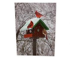 BANBERRY DESIGNS Winter-Kardinaldruck – LED-Bild mit Vogelhaus und Kardinals – Weihnachts-Wandkunst