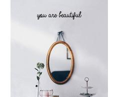 Wandaufkleber aus Vinyl, mit englischer Aufschrift You are Beautiful - 7,6 x 38,1 cm - modernes inspirierendes Zitat für Zuhause, Schlafzimmer, Badezimmer, Schminktisch, Spiegel, Büro Dekoration