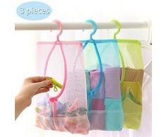 TFY Aufhängen Mesh Lagerung Organizer Tasche mit 360 ° Rotation Aufhänger für Küche, Bad und Kleiderschrank (30 x 25,9 cm), 3 Stück